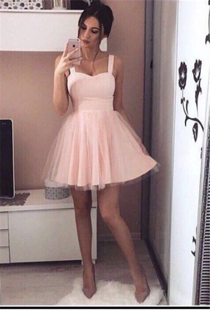 Cheap Prom Dresses Short Pink Straps Tulle Prom Dresses Party Dresses Online