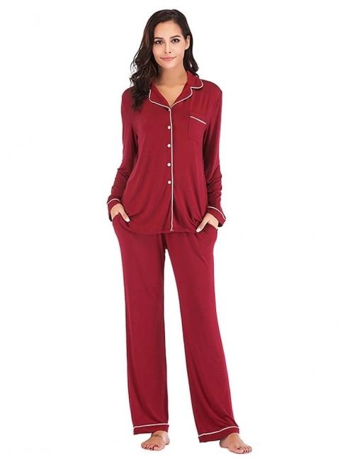Weinrot Schlafanzüge Damen Lang | Nachtwäsche Pyjama Günstig