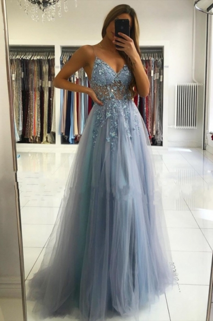 Luxury evening dresses blue | Long glitter prom dresses