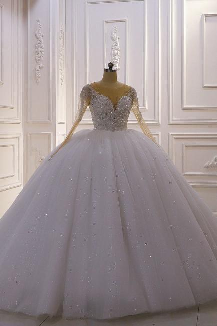 Weiße Brautkleider Prinzessin Glitzer | Hochzeitskleider mit Ärmel