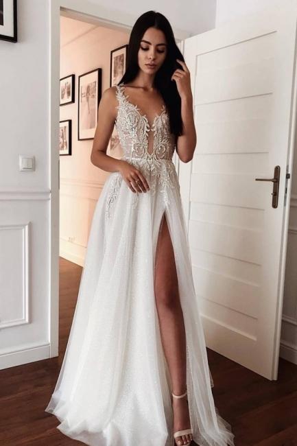 Modern Wedding Dresses A line | Wedding dresses V neckline with lace
