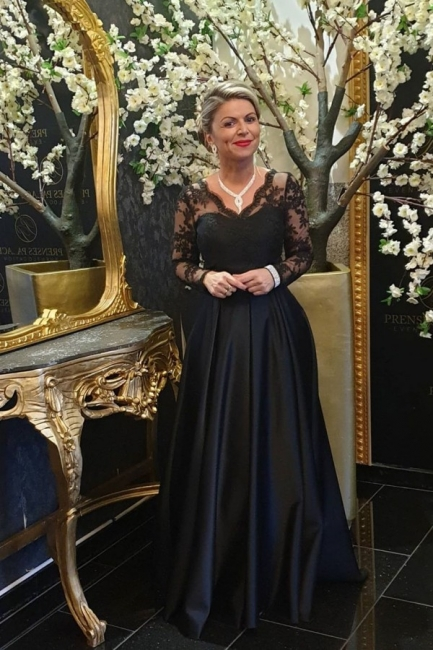 Black Mother of the Bride Dress Cheap | Long mother of the bride dresses with sleeves