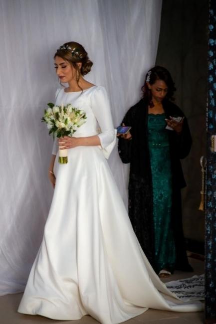 Schlichte Hochzeitskleider mit Ärmel | Brautkleid A Linie Satin