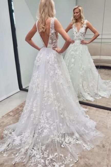 Elegante Brautkleid A linie | Spitze Hochzeitskleider V Ausschnitt