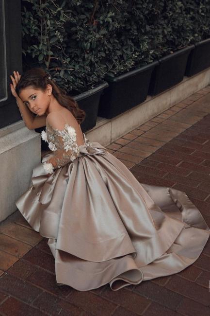 Champagne Blumenmädchenkleider mit Ärmel | Kinder Hochzeitskleider Online