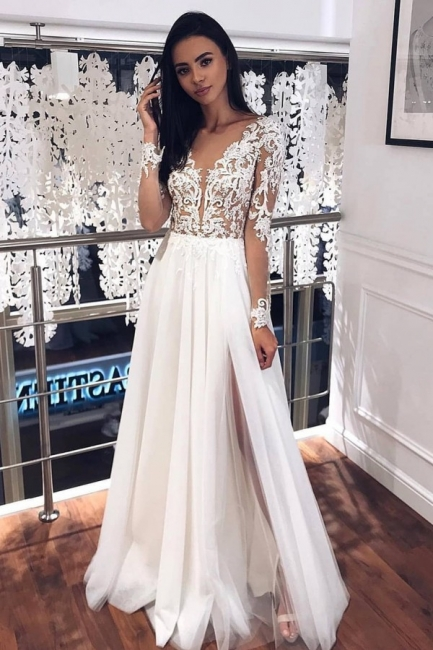 Simple wedding dresses with sleeves | Chiffon wedding dress with lace