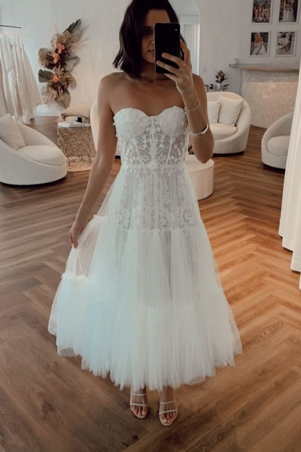 Elegante Brautkleider Kurz | Crema Hochzeitskleider Günstig Online