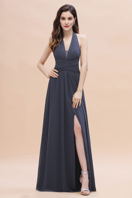 Schlichtes Abendkleid Chiffon | Brautjungfernkleider Lang Günstig