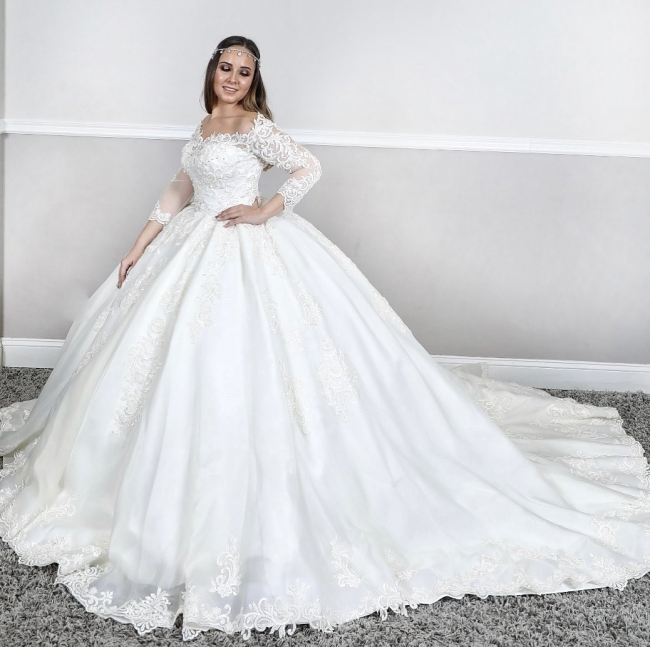Wedding dresses princess | Lace wedding dress with sleeves