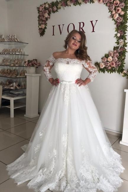 Prinzessin Hochzeitskleider mit Spitze | Brautkleid Lang Ärmel