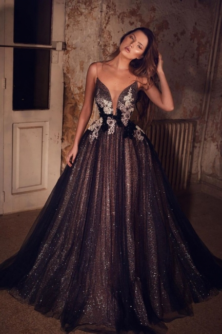 Elegant Evening Dresses Long Black | Prom dresses glitter online