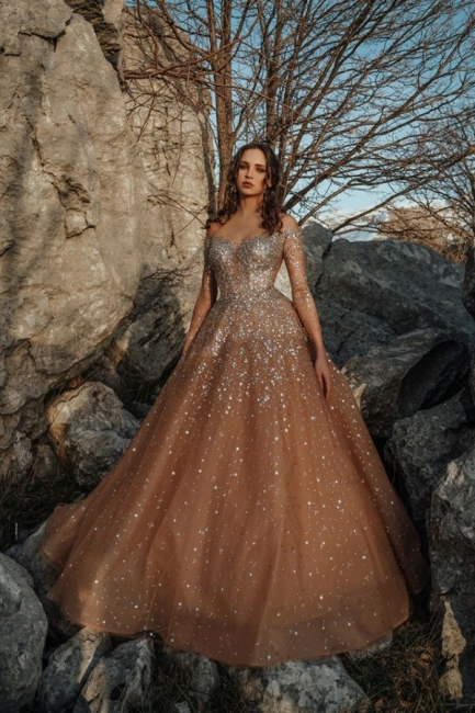 Luxury evening dresses long glitter | Prom dresses with sleeves