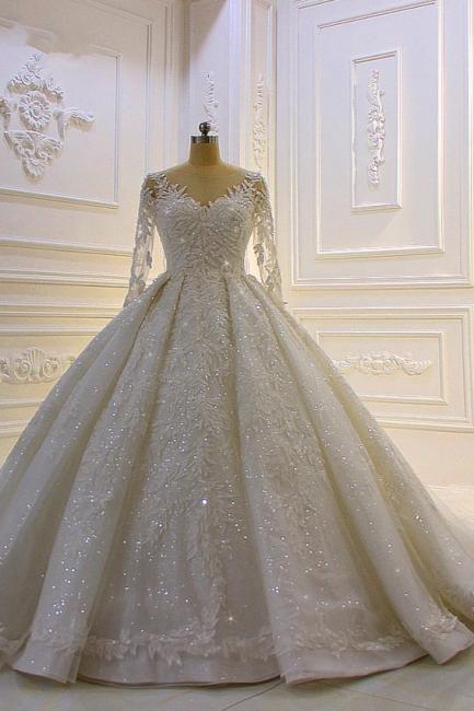 Luxury wedding dresses with sleeves | Wedding dresses princess glitter
