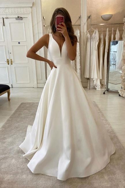 Designer Hochzeitskleid V Ausschnitt | Brautkleid A Linie Online