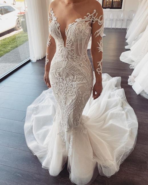 Luxus Hochzeitskleider mit Ärmel | Brautkleid Meerjungfrau Spitze