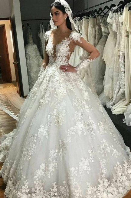 Luxury wedding dresses princess | Cheap bridal wear with lace