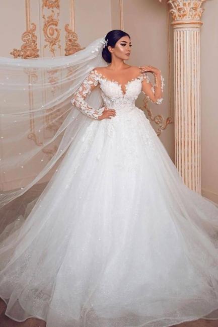 Wunderschöne Hochzeitskleider mit Ärmel | Spitze Brautkleid Prinzessin