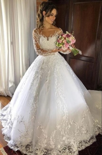 Princess Wedding Dresses With Sleeves | Lace wedding dress cheap online