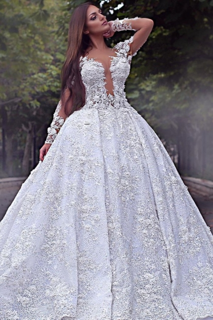 Luxury wedding dress with sleeves | Lace wedding dress A line