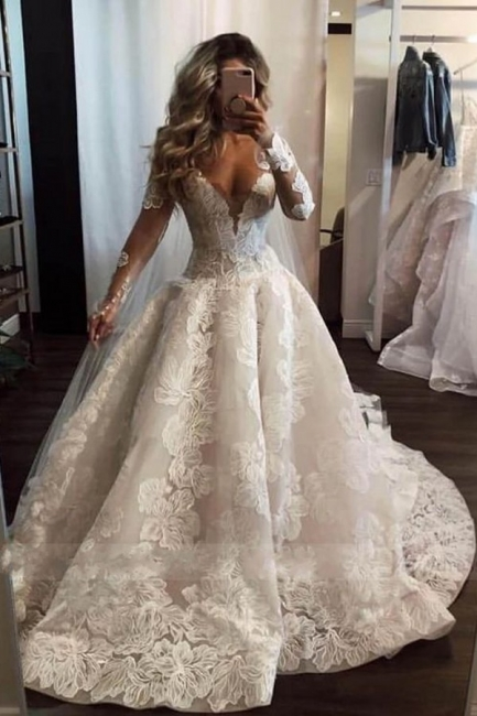Fahison A-Line Sleeved Wedding Dresses | Bridal Fashion Cheap Online