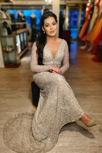 Evening dresses long glitter cheap | Prom dresses with sleeves