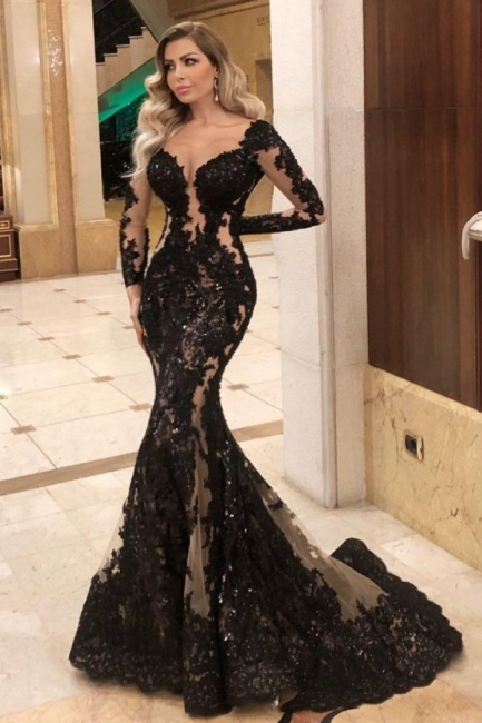 Black evening dresses with sleeves | Top evening wear online