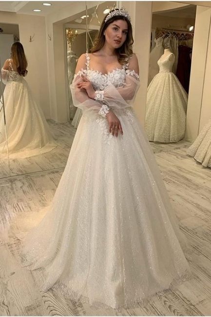 Gorgeous wedding dresses with glitter | Lace bridal A line