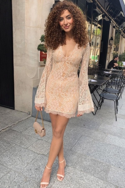 Cocktail Dresses Party Dresses Short | Lace evening dresses with sleeves