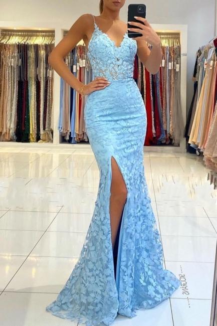 Elegant evening dresses blue | Mermaid lace prom dresses