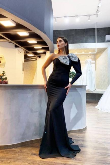 Evening dresses long black with sleeves | Elegant prom dresses online