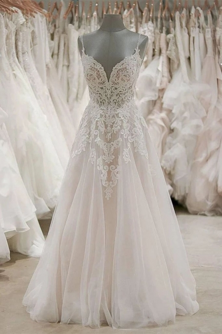 Schlichte Brautkleider A Linie Spitze | Hochzeitskleider Günstig