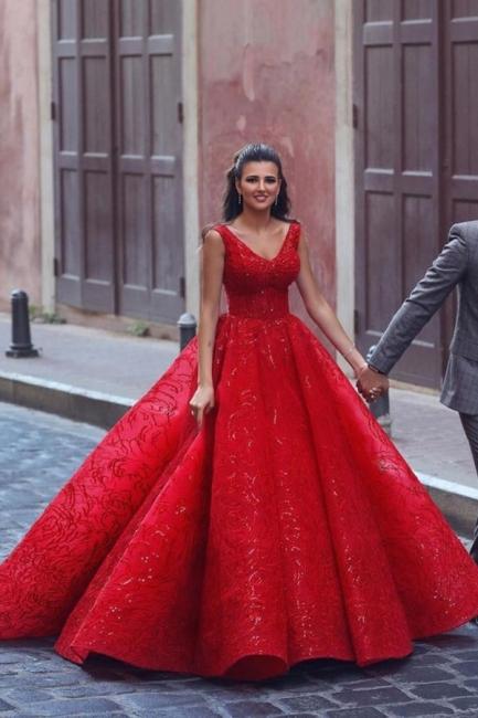 Luxury evening dresses long red | Evening wear V neckline
