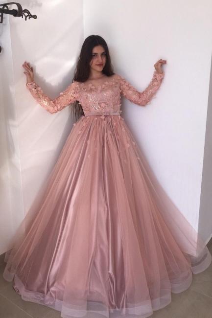 Abendkleider Lang Rosa | Abiballkleider mit Ärmel