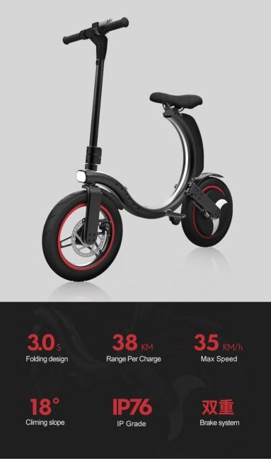 Faltbar Elektroroller E-Scooter 14 inch Breite Rad Höchstgeschwindigkeit 35Km / h E-Scooter