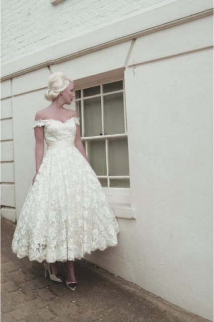 Günstige Brautkleider Kurz A linie | Hochzeitskleider aus Spitze