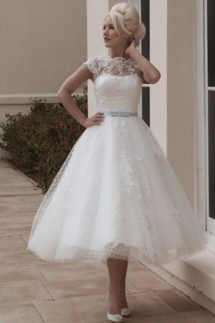 Vintage wedding dresses short | A line wedding dresses with lace