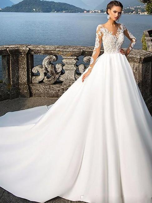 Luxus Brautkleider A Linie | Spitze Hochzeitskleider mit Ärmel