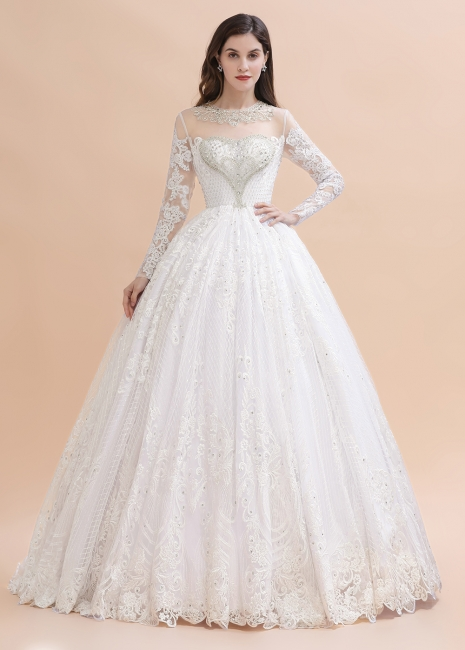 Gorgeous wedding dresses with sleeves | Lace wedding dress princess
