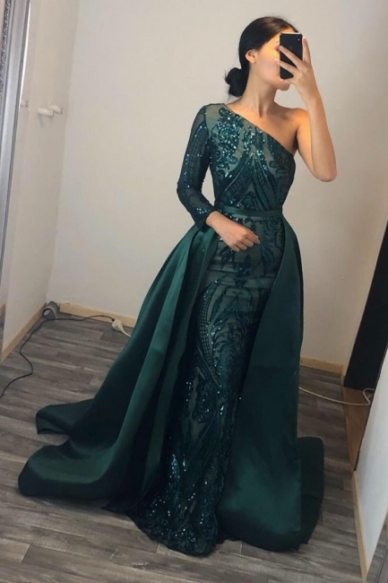 Elegant evening dresses long green | Prom dresses with glitter