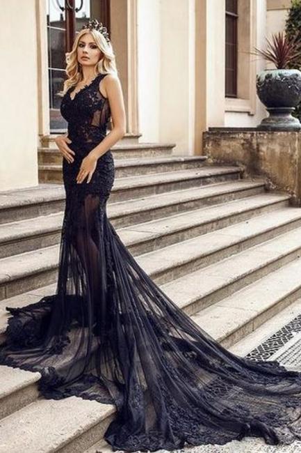 Modern Abendkleider Lang Schwarz | Abendmodne mit Spitze