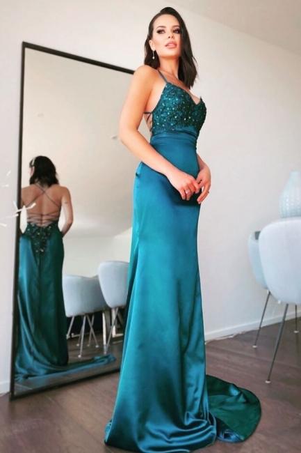 Simple evening dresses long green | Evening wear online