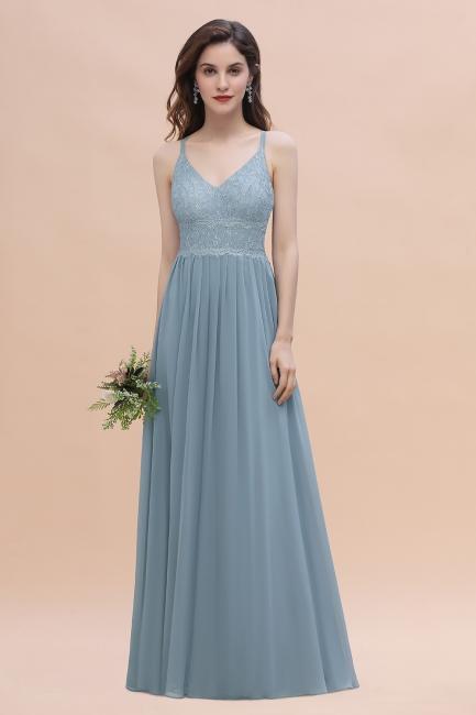 Steel Blue Bridesmaid Dresses Long Chiffon | Bridesmaid dresses