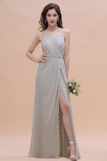 Siber Brautjungfernkleider Lang Chiffon | Schlichtes Abendkleid