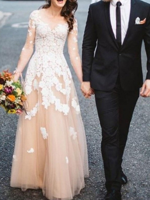 Champagne Wedding Dresses A Line | Wedding dress with sleeves