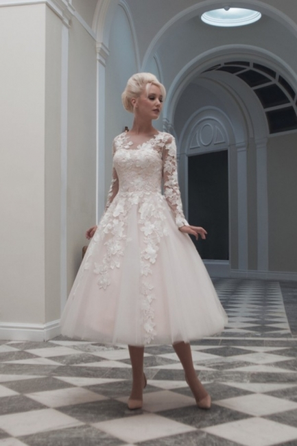 Elegant wedding dresses short lace | A line wedding dresses with sleeves