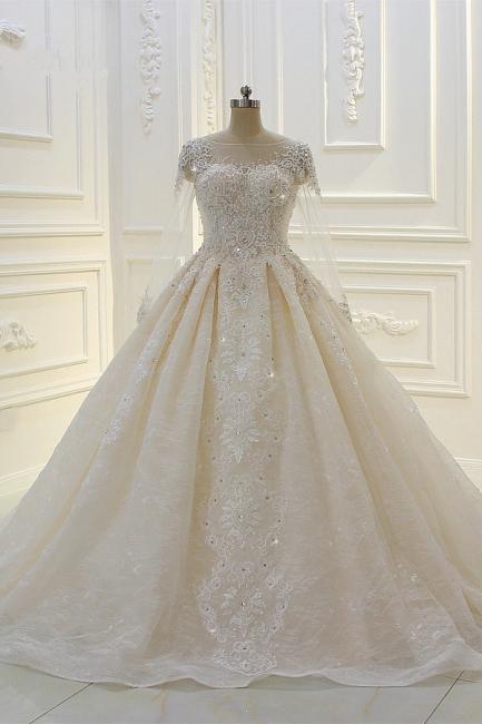 Schöne Brautkleider Mit Glitzer | Hochzeitskleider A Linie Spitze