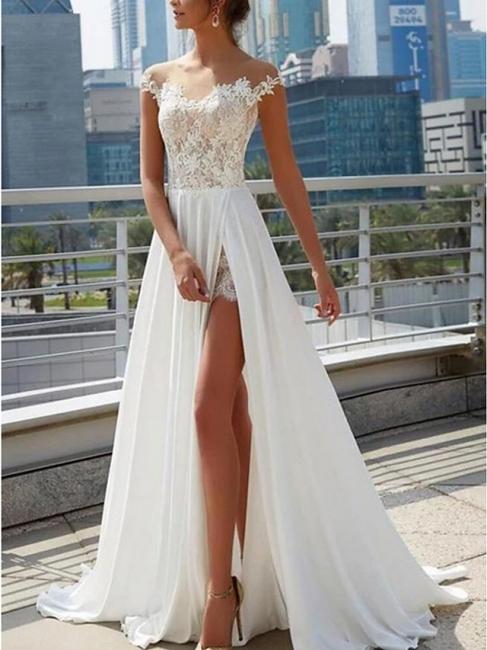Designer Brautkleider Mit Spitze | Sommer Chiffon Hochzeitskleider Etuikleider