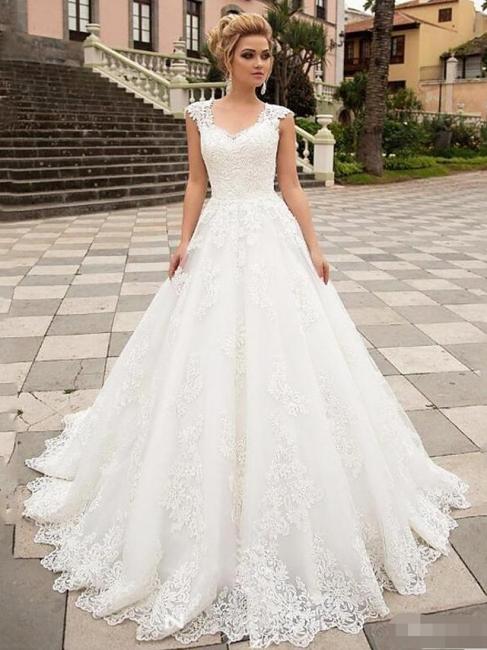 Designer Hochzeitskleider A Linie | Brautmoden Mit Spitze
