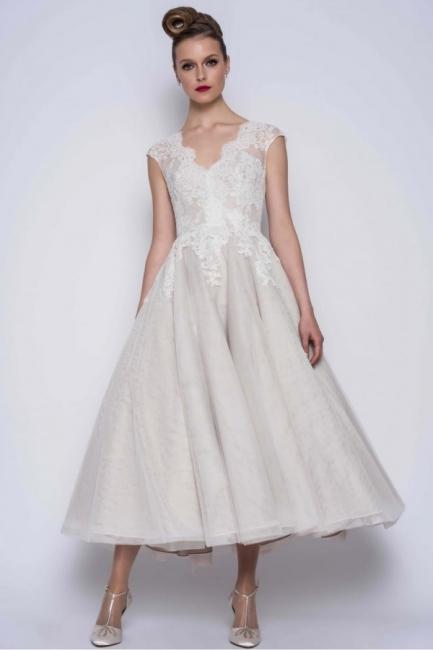 Schlichte Brautkleider A Linie | Kurze Hochzeitskleider mit Spitze