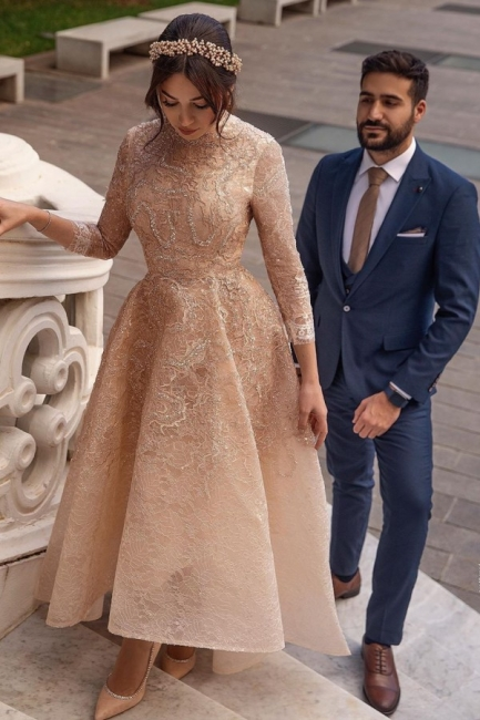 Elegante Brautkleider Kurz | Hochzeitskleider Spitze mit Ärmel